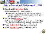 data to submit to cpuc by april 1 2011