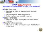 divca video template important excel worksheets tabs in excel workbook