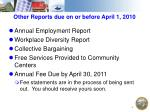 other reports due on or before april 1 2010
