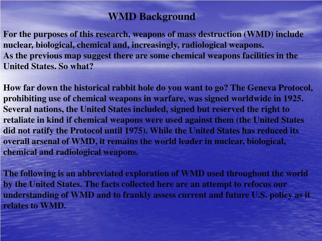 WMD Background