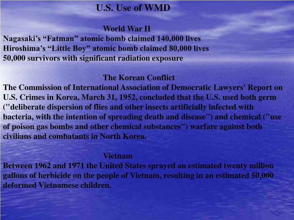 U.S. Use of WMD
