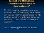 kiewiet and mccubbins presidential influence on appropriations