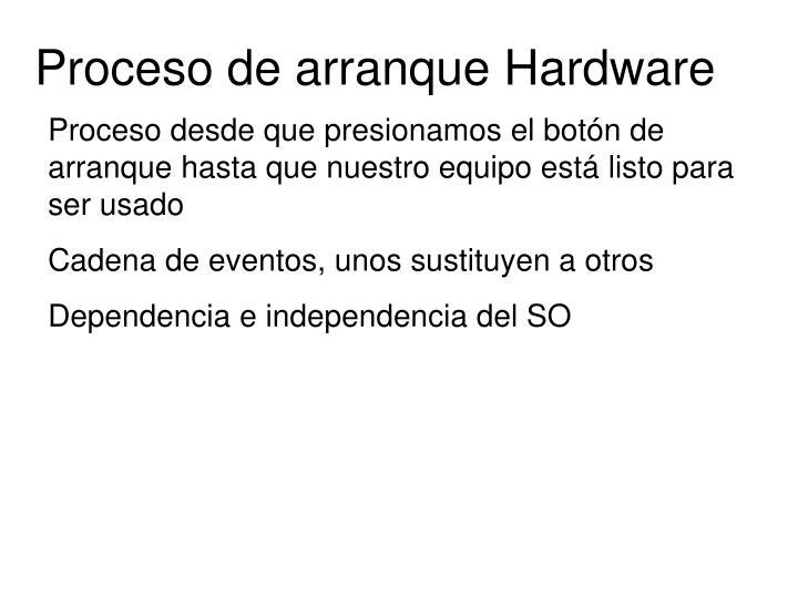 Proceso de arranque Hardware