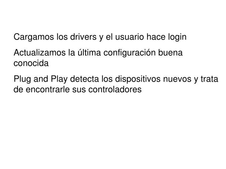 Cargamos los drivers y el usuario hace login