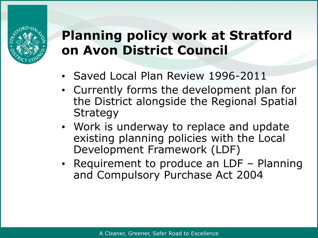 Planning policy work at Stratford on Avon District Council