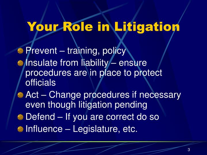 Your role in litigation