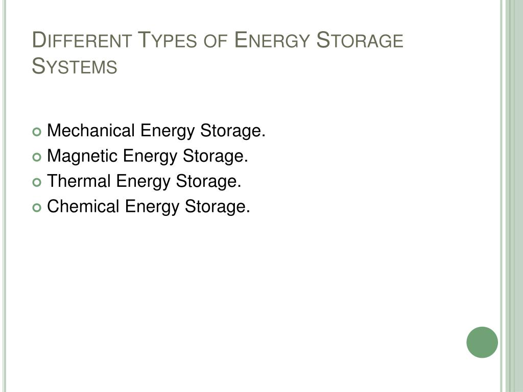 Different Types of Energy Storage Systems