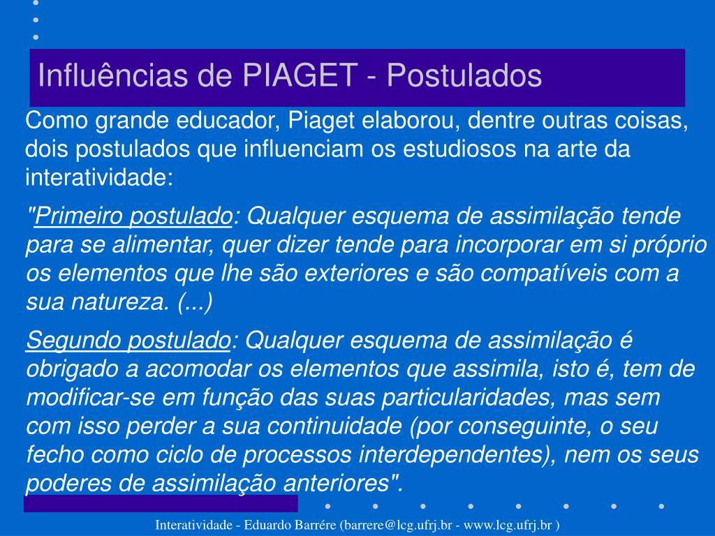 Influências de PIAGET - Postulados
