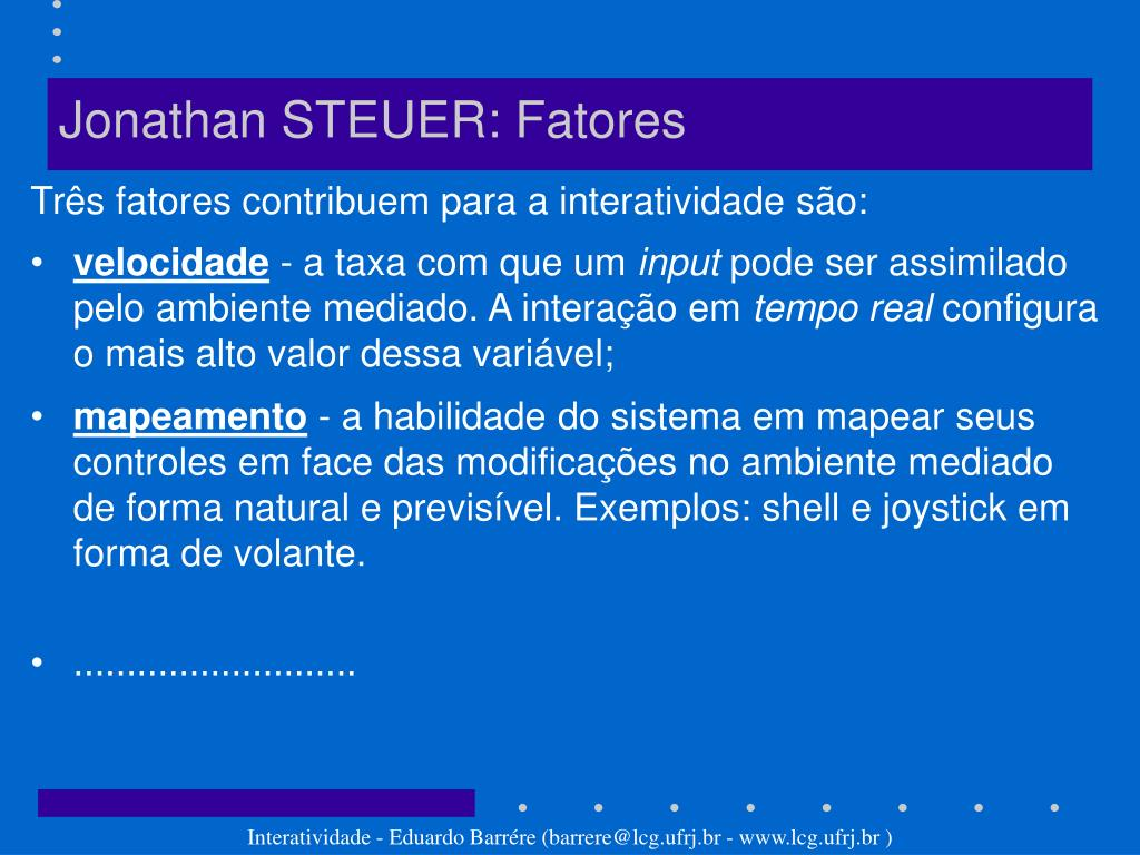 Jonathan STEUER: Fatores