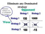 eliminate any dominated strategy