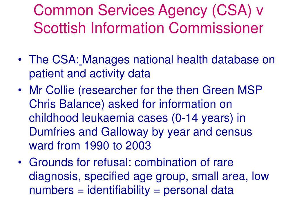 Common Services Agency (CSA) v Scottish Information Commissioner