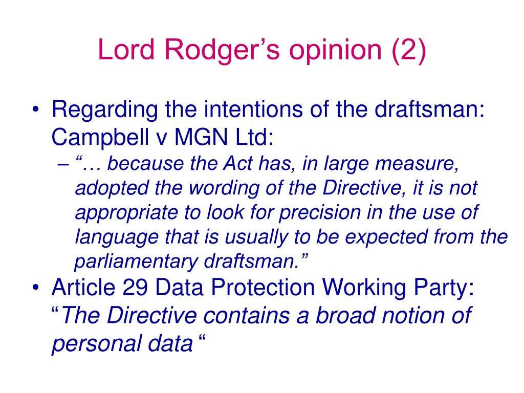 Lord Rodger's opinion (2)