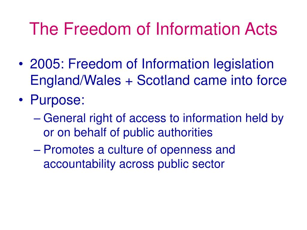 The Freedom of Information Acts