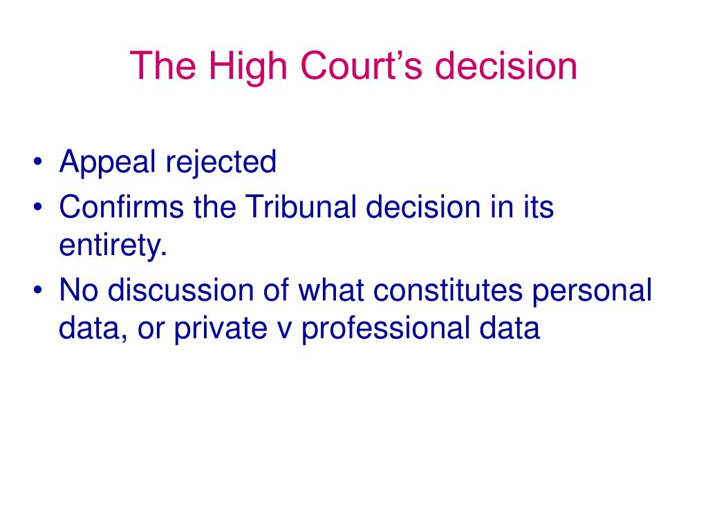 The High Court's decision