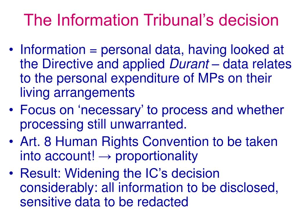The Information Tribunal's decision