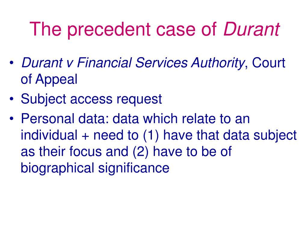The precedent case of