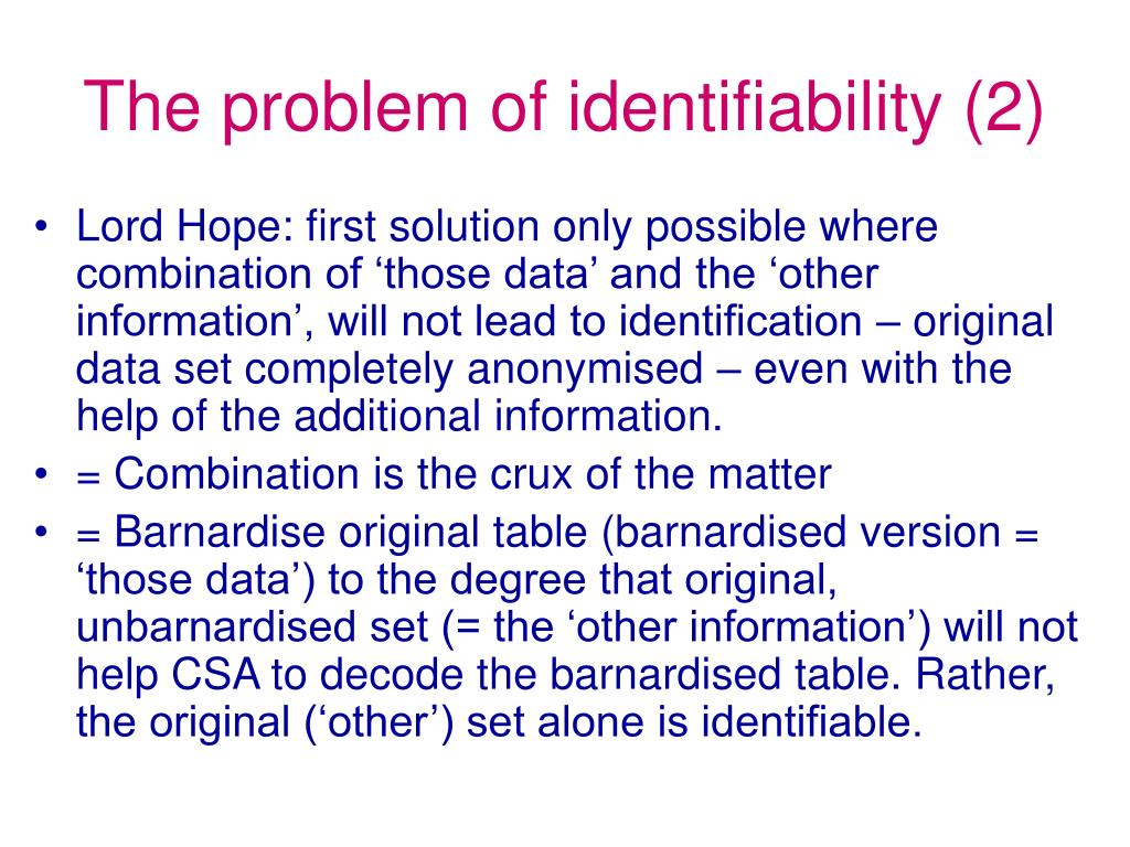 The problem of identifiability (2)