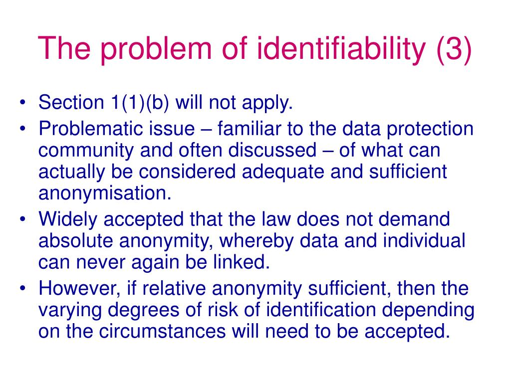 The problem of identifiability (3)