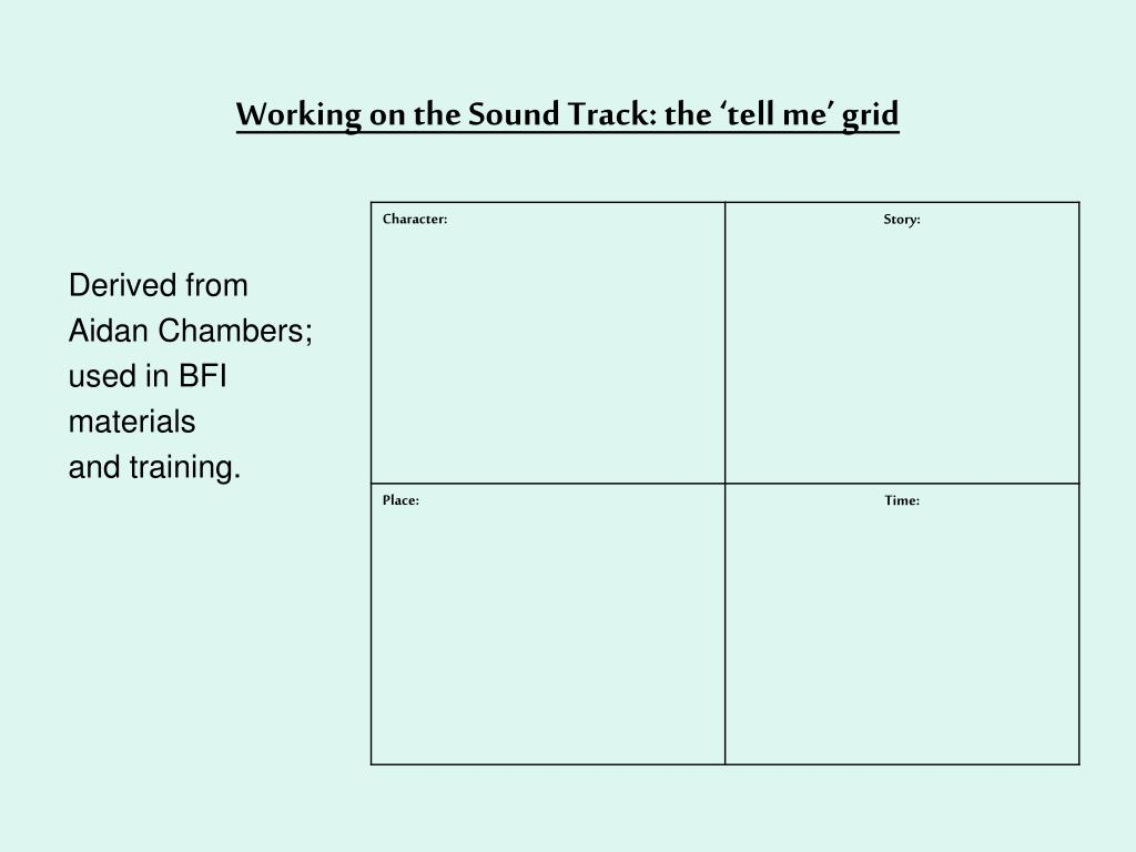 Working on the Sound Track: the 'tell me' grid