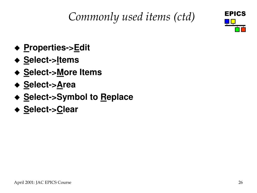 Commonly used items (ctd)