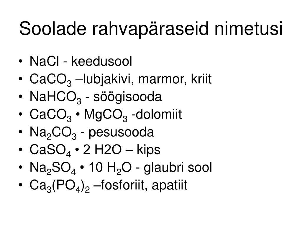 Soolade rahvapäraseid nimetusi