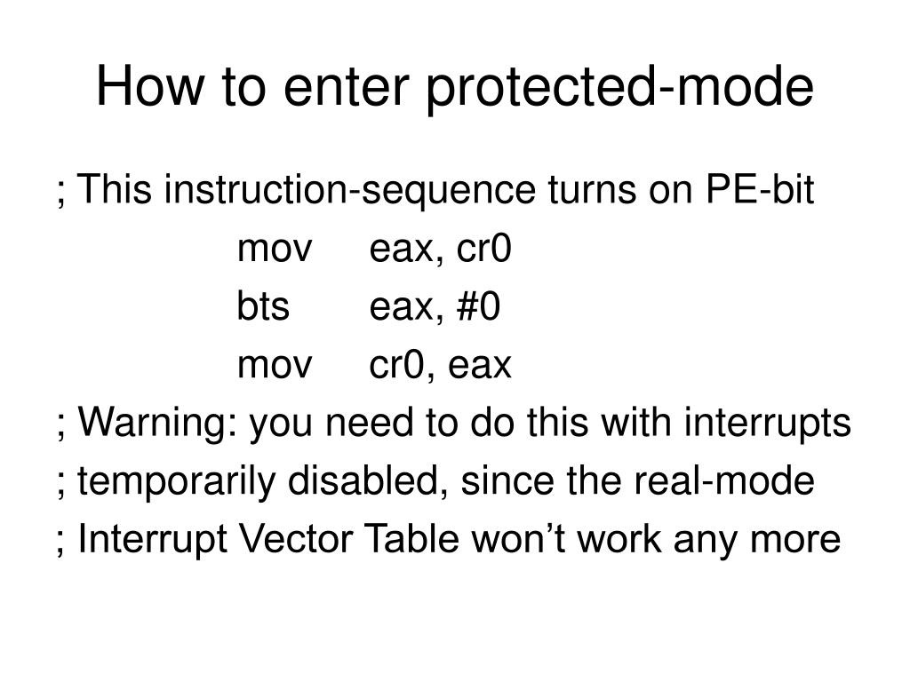 How to enter protected-mode