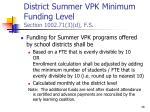 district summer vpk minimum funding level section 1002 71 3 d f s