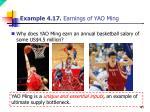 example 4 17 earnings of yao ming