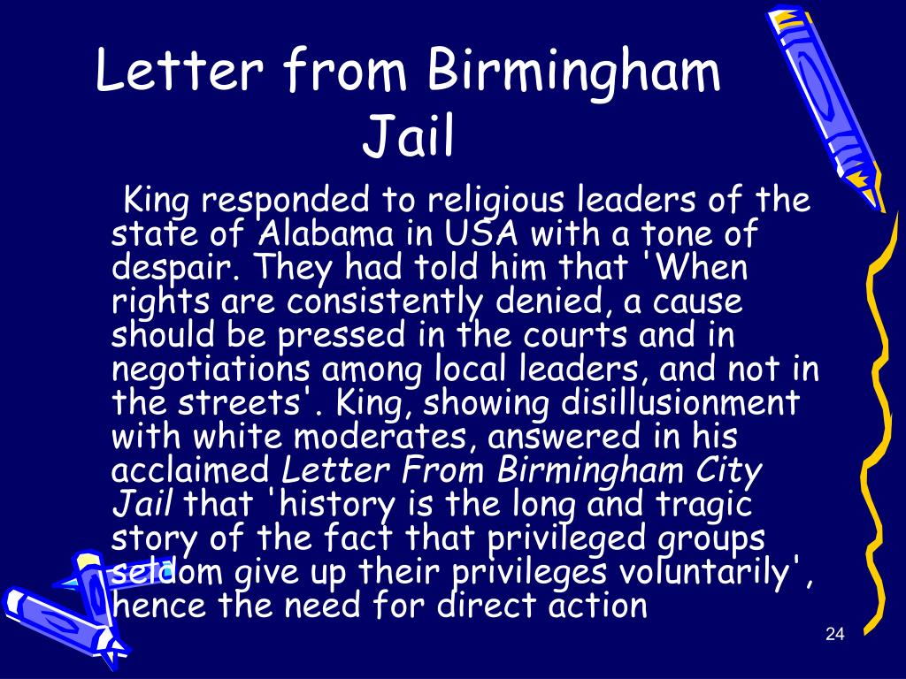 letter from birmingham jail cause and effect Below is a free excerpt of the effect of mlk's letter  mlk's letter from the birmingham jail has had  mlk lette from birmingham jail answers the cause.