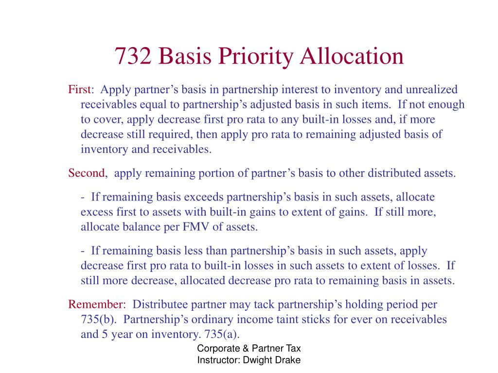 732 Basis Priority Allocation