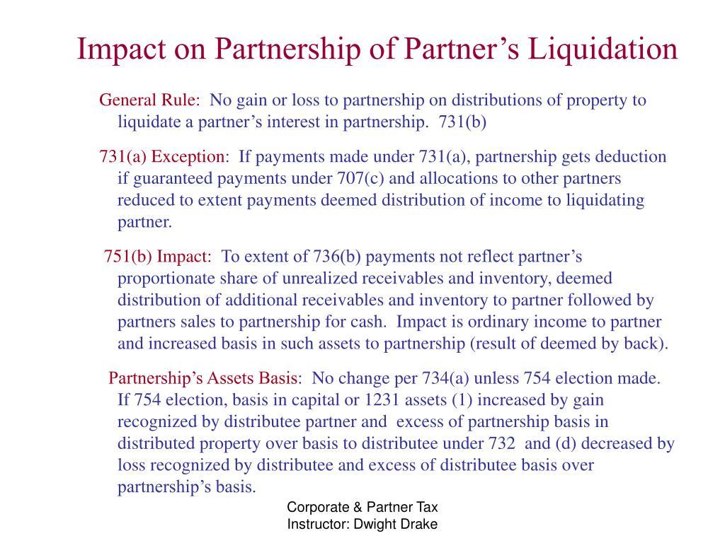 Impact on Partnership of Partner's Liquidation