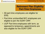 retirement plan eligibility part time employees