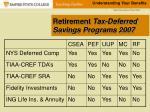 retirement tax deferred savings programs 2007