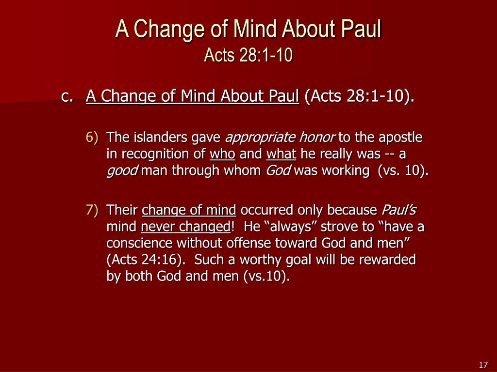 A Change of Mind About Paul