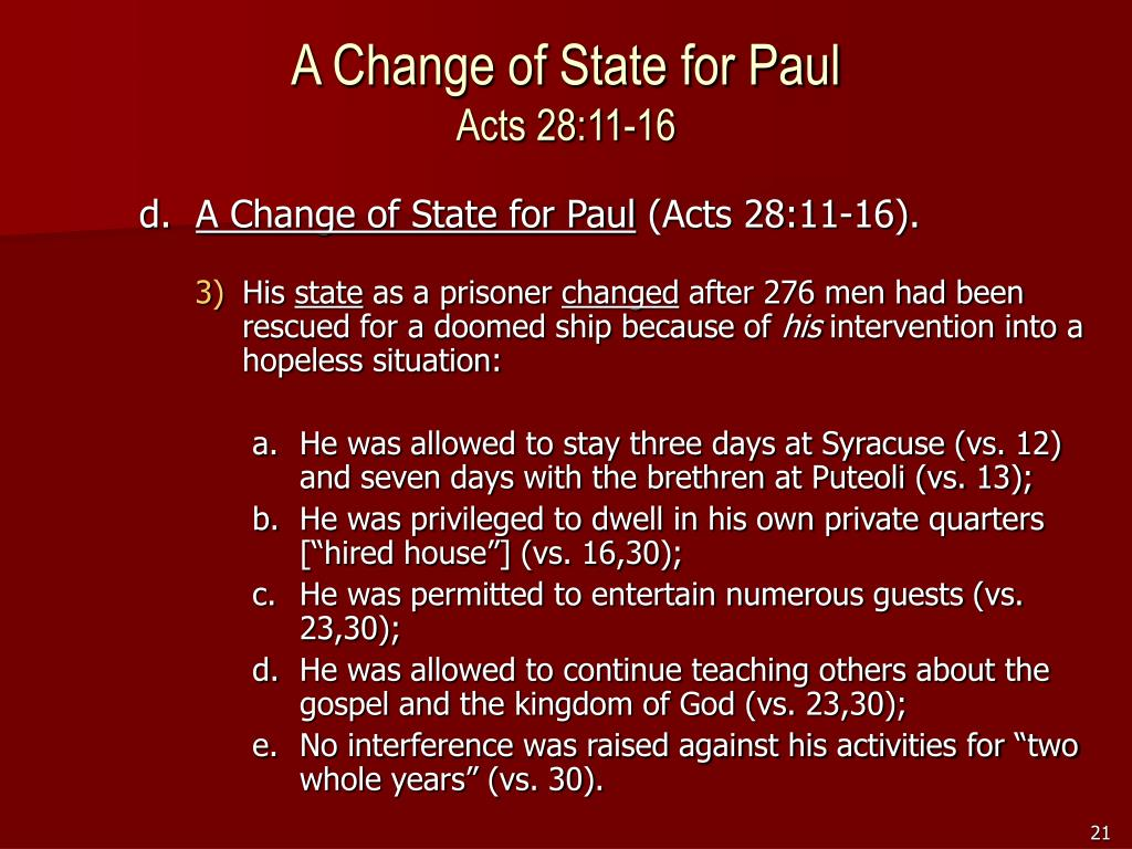 A Change of State for Paul