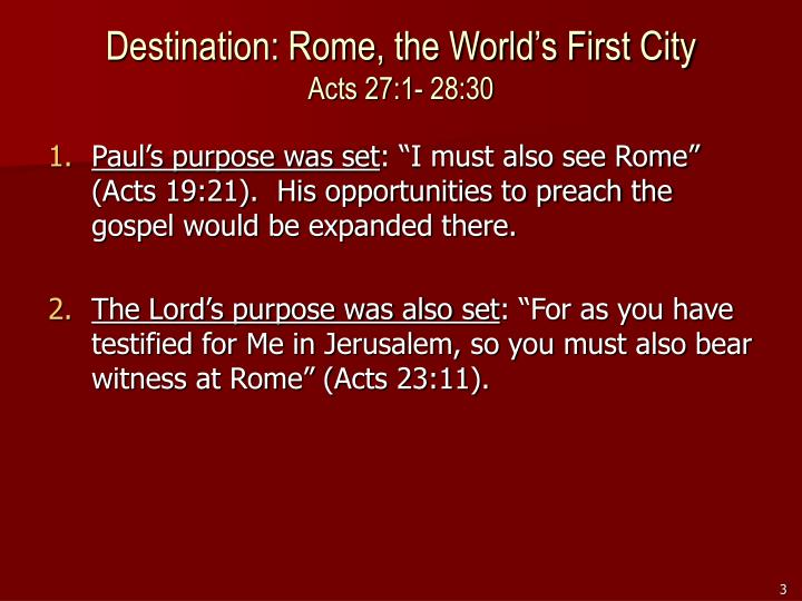 Destination rome the world s first city acts 27 1 28 30
