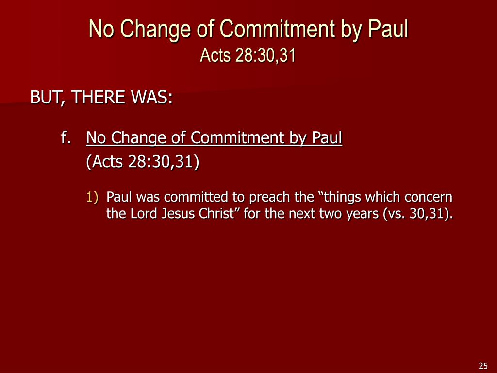 No Change of Commitment by Paul