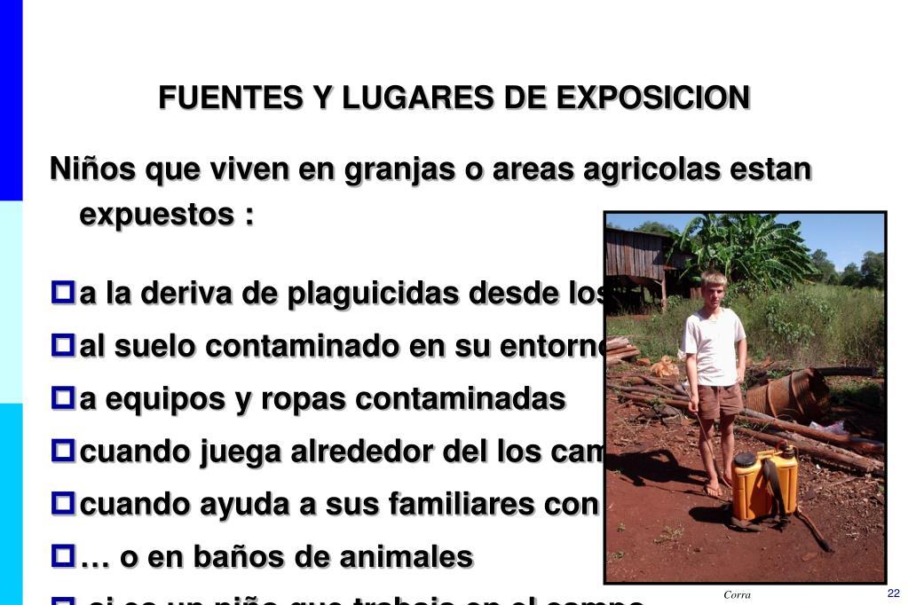 FUENTES Y LUGARES DE EXPOSICION