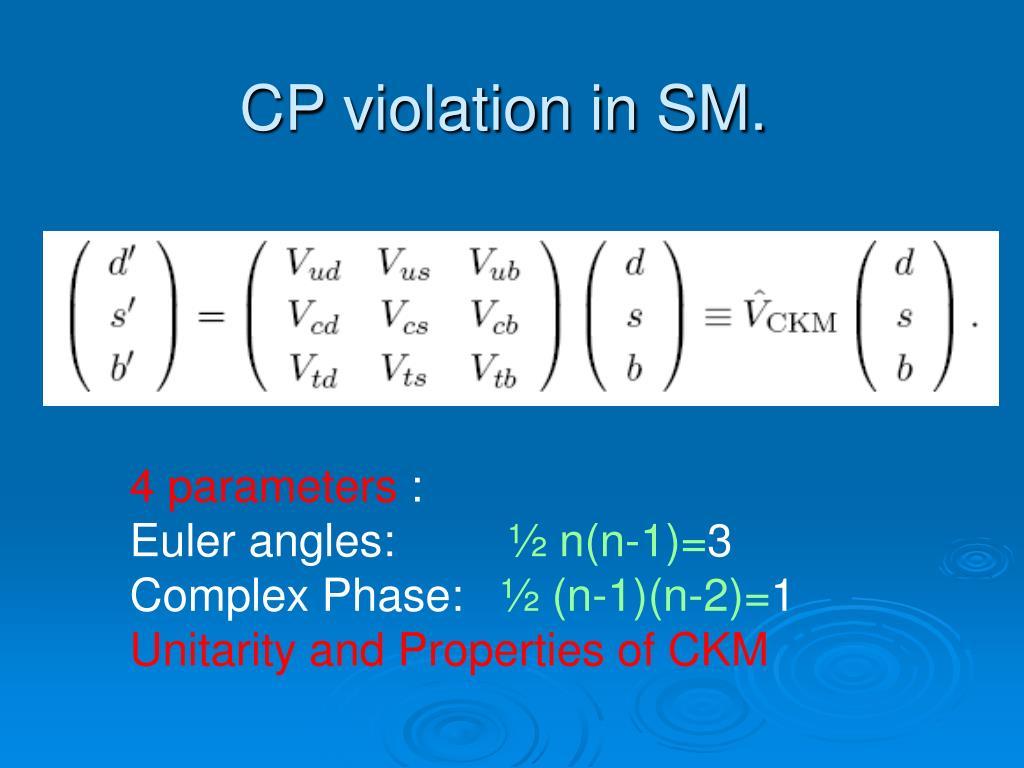 CP violation in SM.
