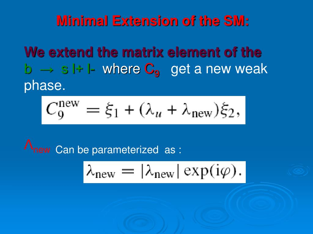 We extend the matrix element of the