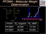 pfoma molecular weight determination