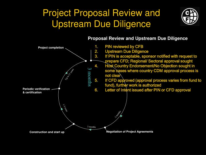 Project proposal review and upstream due diligence