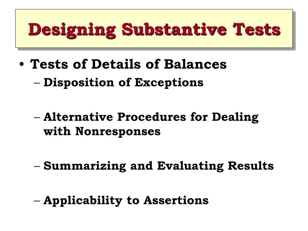Designing Substantive Tests