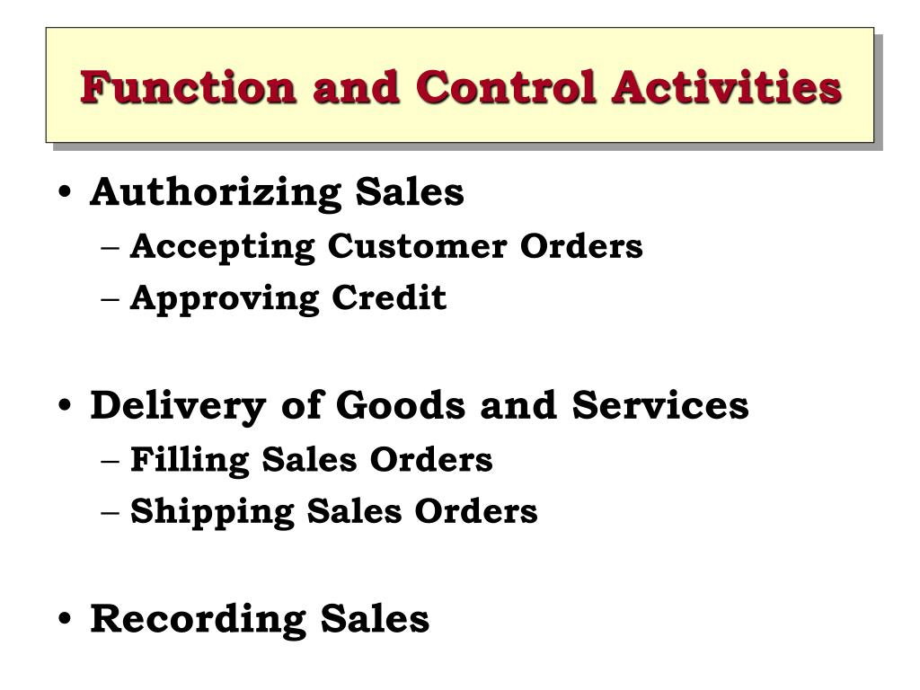 Function and Control Activities