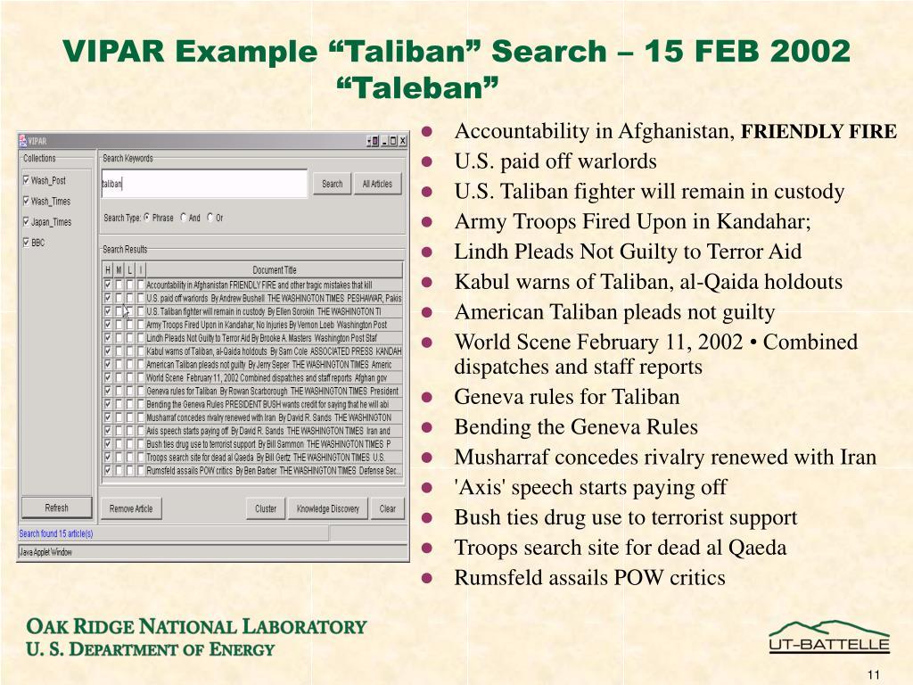 "VIPAR Example ""Taliban"" Search – 15 FEB 2002"