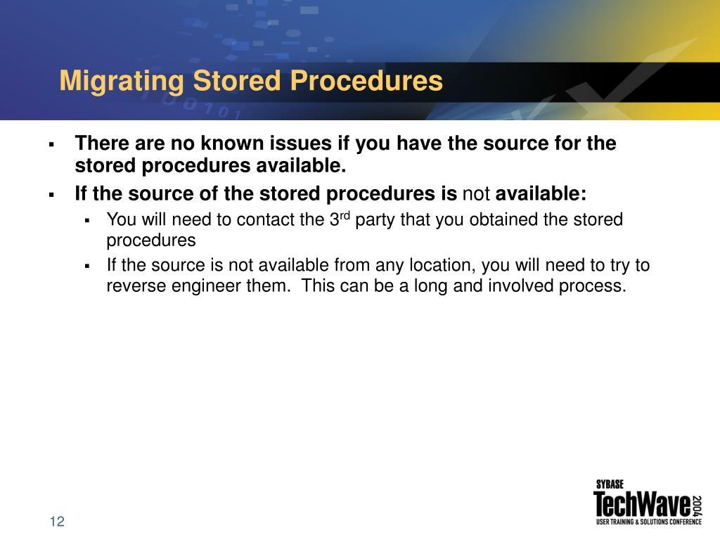 Migrating Stored Procedures