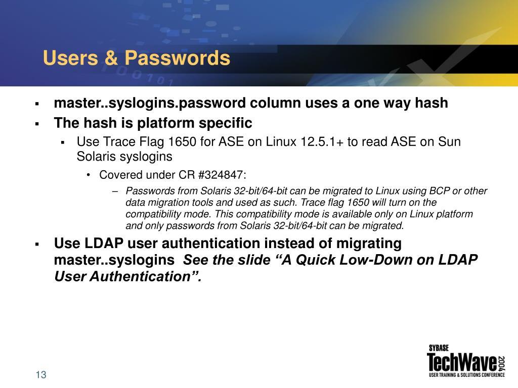 Users & Passwords