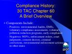 compliance history 30 tac chapter 60 a brief overview