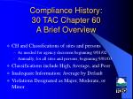 compliance history 30 tac chapter 60 a brief overview4