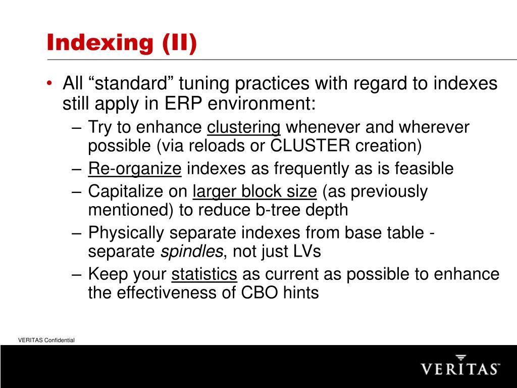 Indexing (II)